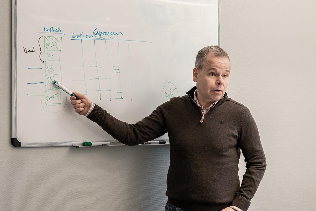 free2moves VD jan ström står framför en whiteboard och förklarar driftnetto