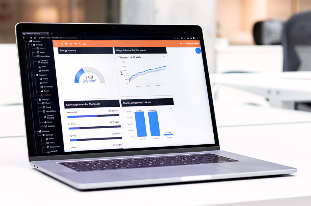 laptop med free2moves dashboard